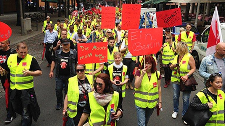 Einzelhandelsstreik, Potsdamer Platz, 26. Juni 2015
