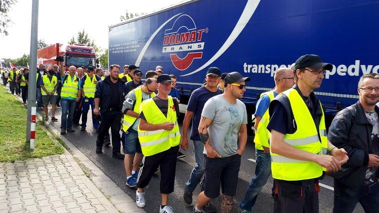 Die Kaufland-Logistiker von Lübbenau im Streik